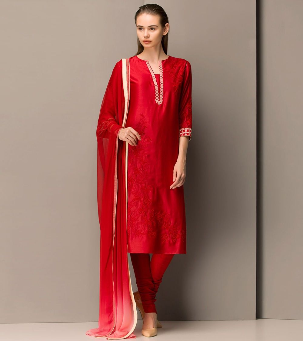 Red #Chanderi #Silk #Embroidered #Churidar #Suit at #Indianroots ...