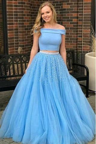 be10cb2310 Two Piece A-line Off the Shoulder Open Back Light Blue Long Prom Dress with  Beads G4484 by DRESS