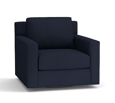York Square Arm Upholstered Swivel Armchair, Down Blend Wrapped Cushions, Twill Cadet Navy