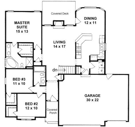 Plan 1424 3 bedroom narrow lot ranch w 3 car garage for 3 car garage house plans