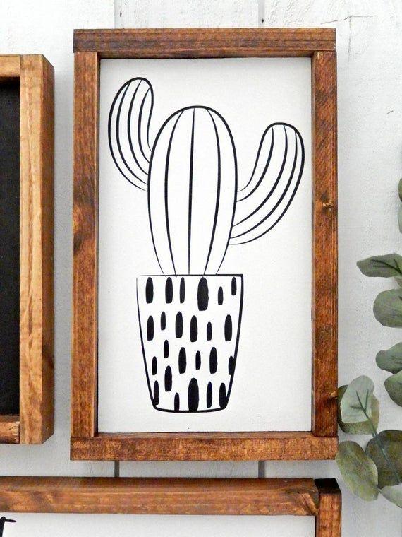 Photo of Cactus Wood Sign  Boho Sign  Succulent Sign  Farmhouse Sign   Etsy