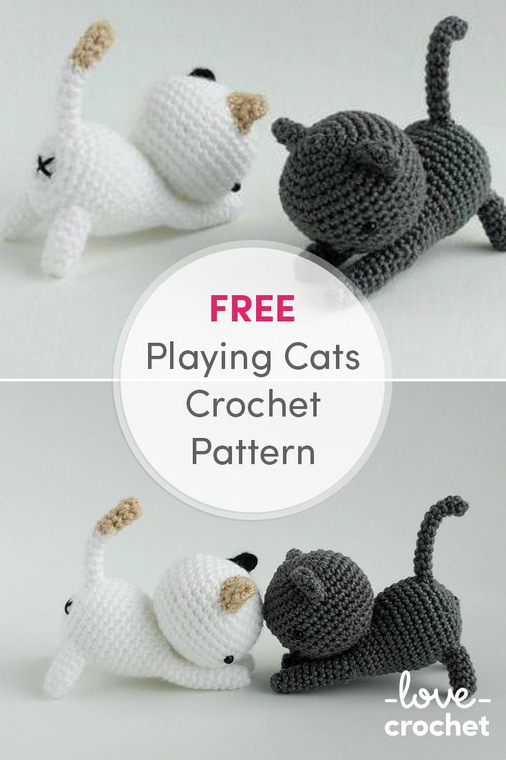 FREE playing cats crochet pattern! Shadow and Dottie would make a ...