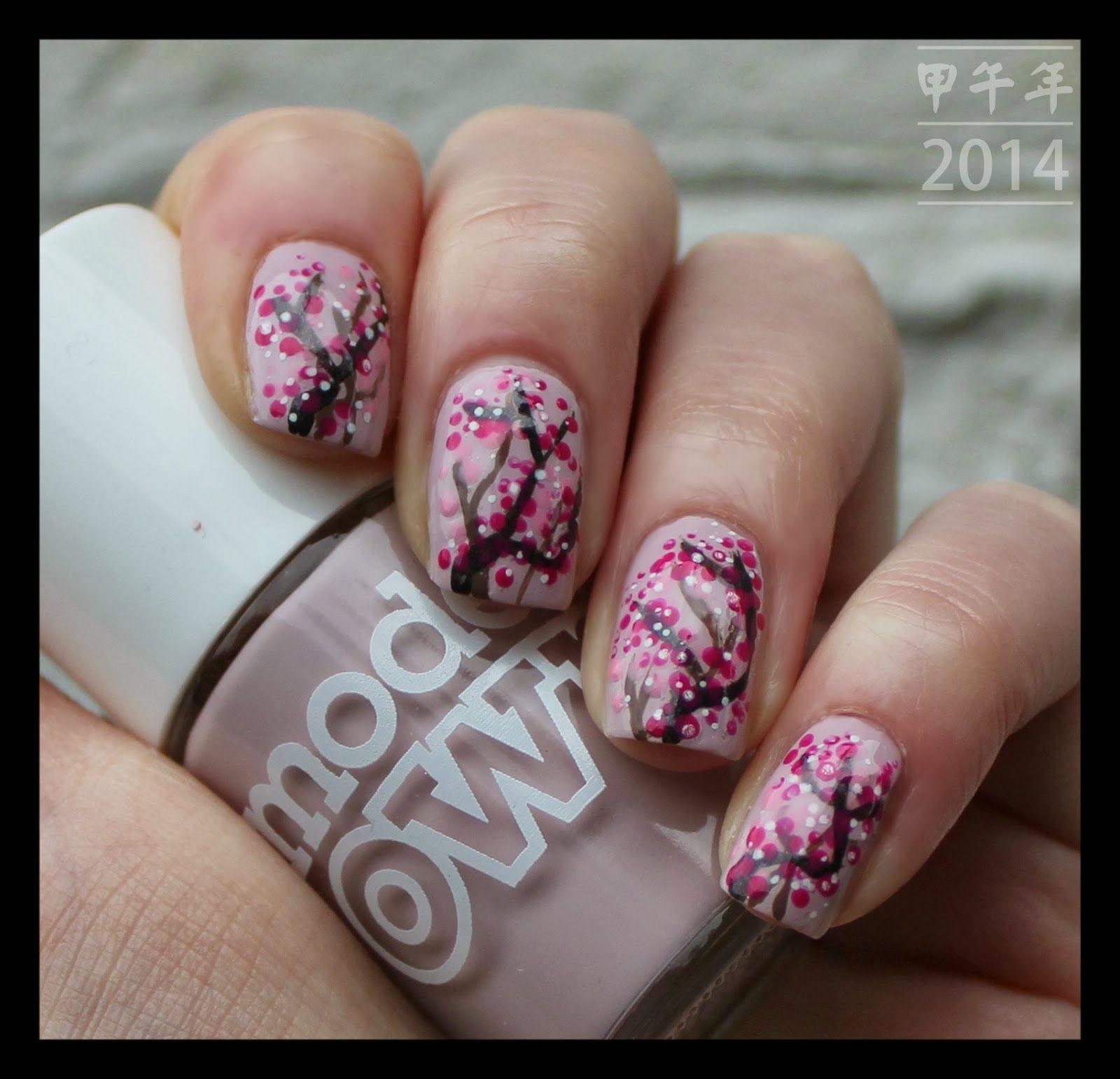 Happy Chinese New Year! New years nail art, Cherry