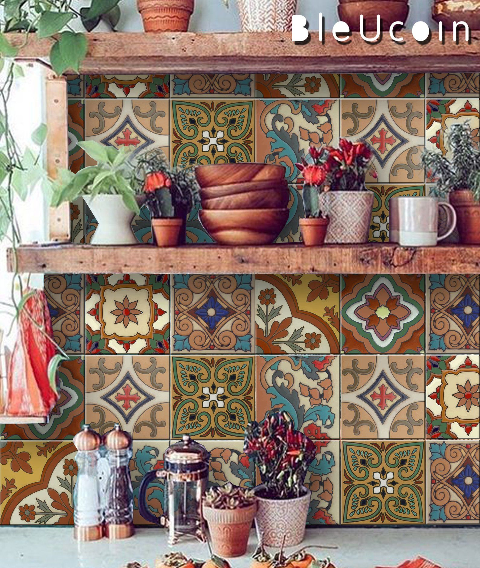 Mexican Terracotta Tile Wall Stair Stickers Removable Decal Etsy Stair Stickers Tile Decals Bohemian Kitchen