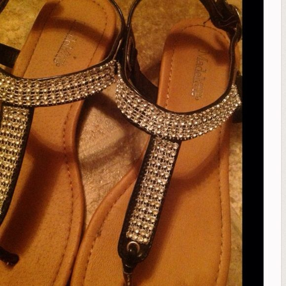 e4b15e167dcc4 Beautiful Black Rhinestone Sandals They re not new they are used but they  still got