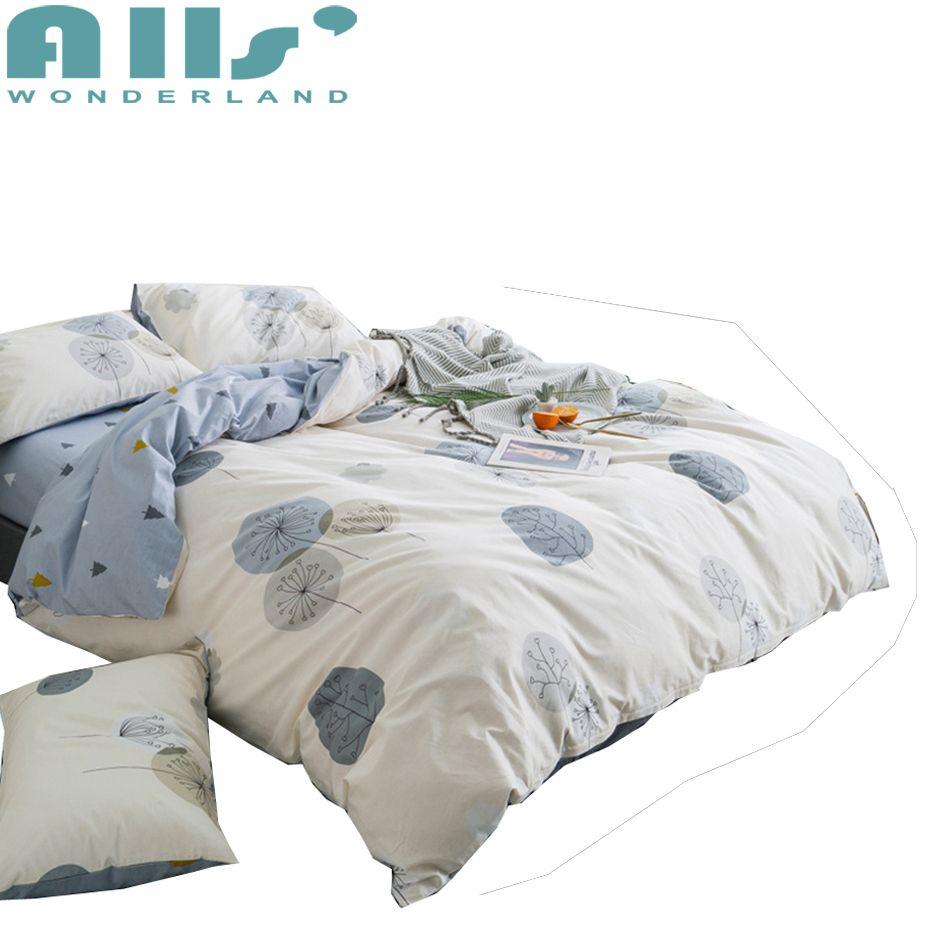 Blue Bed Sheet Queen Size Duvet Cover Set Decorative Pillowcases