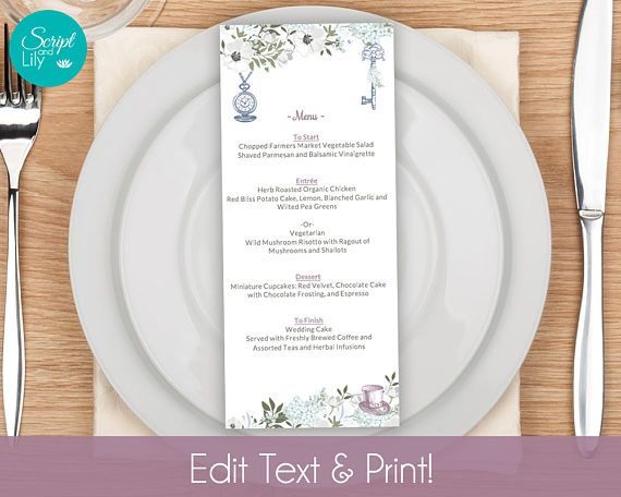 Alice Wonderland Printable Menu Template INSTANT DOWNLOAD DiY - dinner party menu templates free download