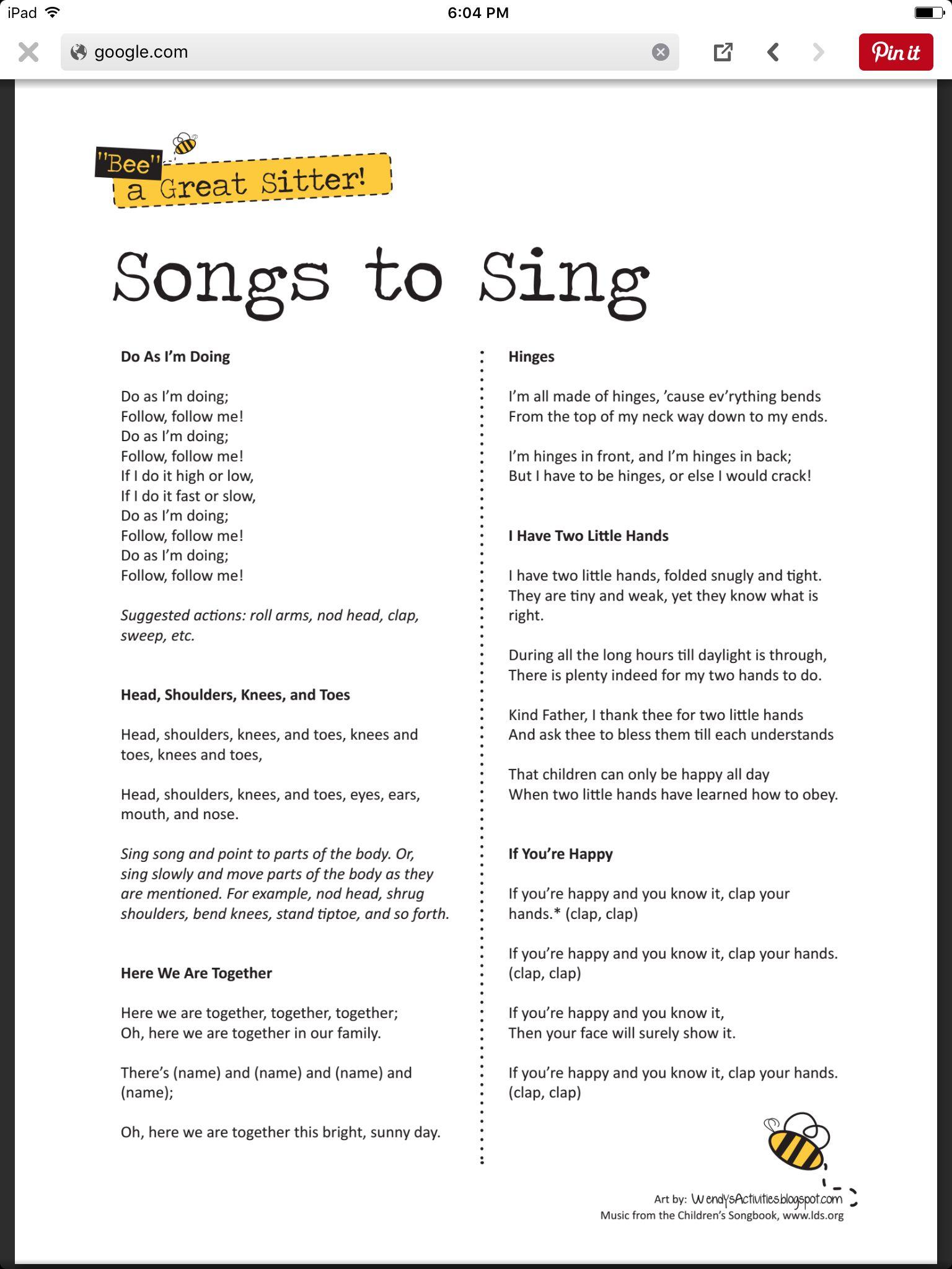 Babysitting Songs To Sing Babysitting Kit Babysitting Fun