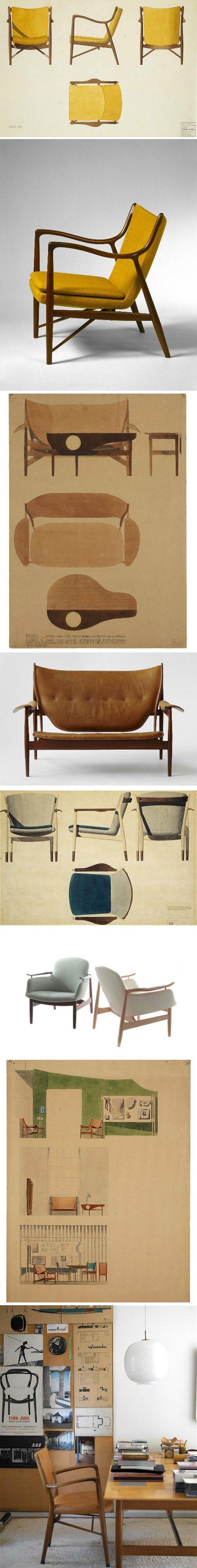 Finn Juhl Sketches Furniture Design Modern Scandinavian Furniture Famous Furniture Designers
