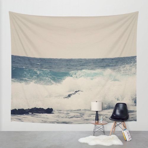 Blue Map Tapestry