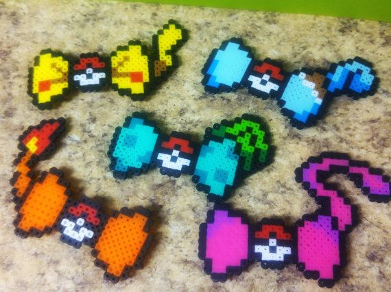 Check out this item in my Etsy shop https://www.etsy.com/listing/506634733/pokemon-perler-bead-hair-bows-bulbasaur