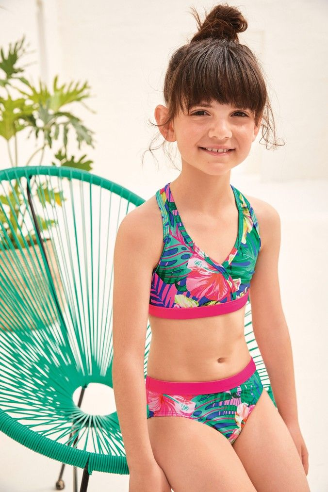 Girls Next Cobalt Palm Bikini (3-16yrs) -  Blue