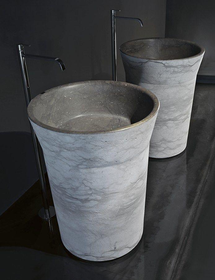 Freestanding Vesuvius stone washbasin PILA16 by Antonio Lupi Design® | #design Carlo Colombo @antoniolupispa