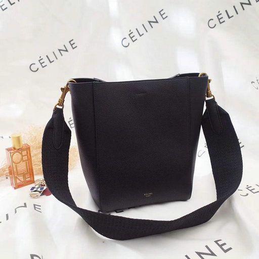 9f36ada7ab 2017 Céline Small Seau Sangle Bag in black soft grained calfskin ...