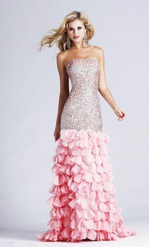 Mermaid/Trumpet Strapless Sequins Blush Prom Dress PD2E5F