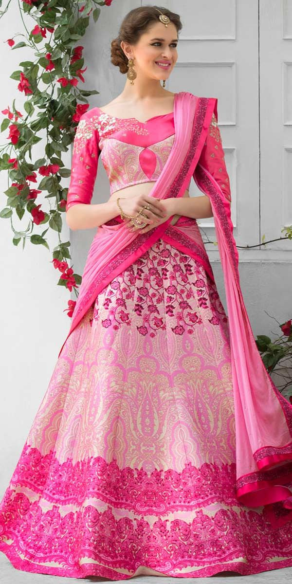 Cute Pink Silk Designer Lehenga.   Indian outfits.   Pinterest ...