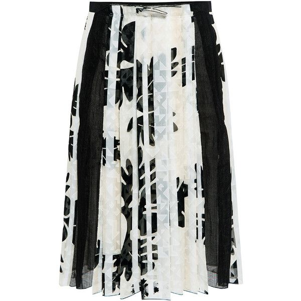 O 2nd - Mono Flower Pleated Skirt (£300) ❤ liked on Polyvore featuring skirts, floral print skirt, floral printed skirt, floral skirt, flower skirt and pleated skirt