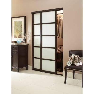 Contractors Wardrobe 48 In X 96 In Tranquility Glass Panels Back Painted White Interior Sliding Door With Espresso Wood Frame Tr5 Psw4896es2x The Home Depot In 2020 Sliding Doors Interior White Interior Contractors Wardrobe