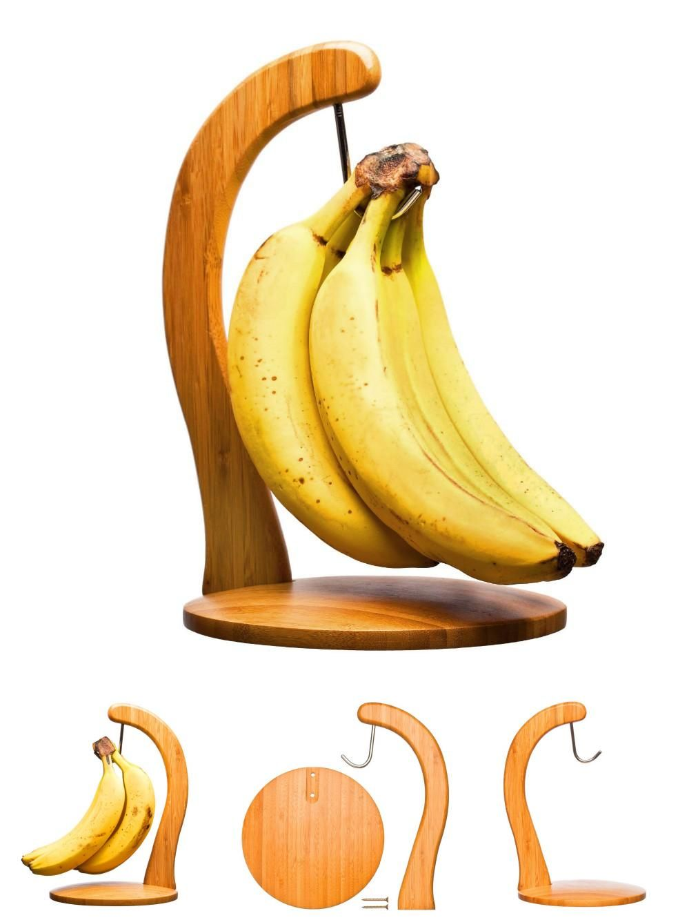 Wooden Banana Hanger Fruit Kitchen Holder Hook Stand Rack Wood