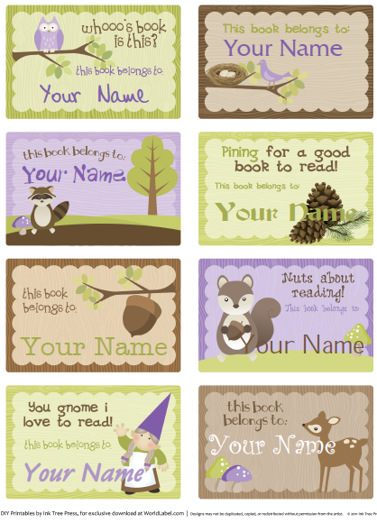 free printable book plate templates kids bookplate labels by ink tree press worldlabel blog - Kid Free Books
