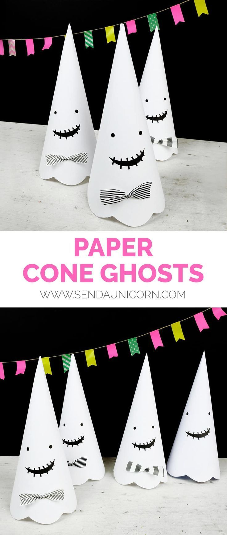 PAPER CONE GHOST PRINTABLE is part of Halloween craft activities, Halloween decorations for kids, Easy halloween crafts, Halloween paper, Halloween crafts for kids, Fun halloween games - Follow us on Instagram for more fun ideas for kids! With our hectic October schedule, it's always a relief to find a cute Halloween printable that can be printed and put together in a snap like these Paper Cone Ghost Printables! Ghouls and ghosties are a sign of the season, and these darling paper cone ghosts are …