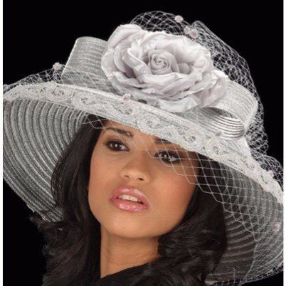 SG5020-Straw Hat Silver wide brim with silver bow and flower  c68d93ca3f92