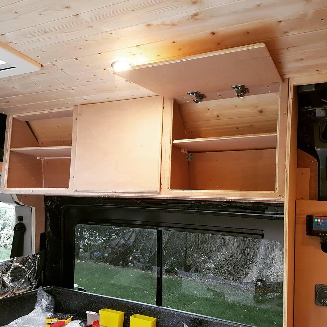 Some Cheeky Kitchen Cupboards Talking Shape Campervan Campervanlife Campervans Camperva Camper Cupboards Campervan Storage Ideas Camper Van Conversion Diy