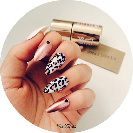 Chrome Rose And White Leopard Print Stiletto Nails Set Nail Art Nail Designs False Nails Acrylic Nails Fake Nails Leopard Print Nails Trendy Nails Leopard Nails