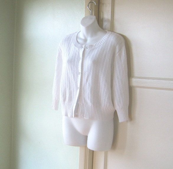 Small White Cable Cardigan~Chunky Vintage White Button Up Retro ...
