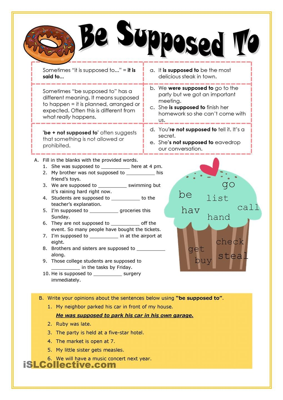 Be Supposed To Worksheet Free Esl Printable Worksheets Made By Teachers English Grammar Learn English Teaching English [ 1440 x 1018 Pixel ]