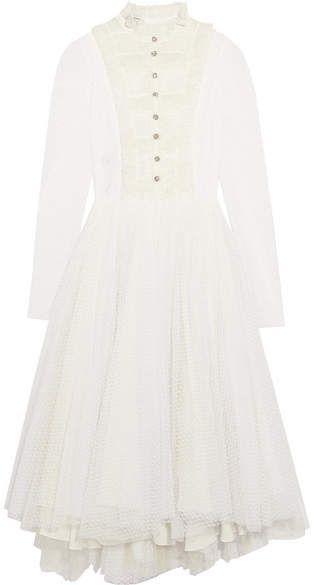 Ruffled Lace-paneled Polka-dot Tulle Midi Dress - White Philosophy di Lorenzo Serafini A5OWGMgq