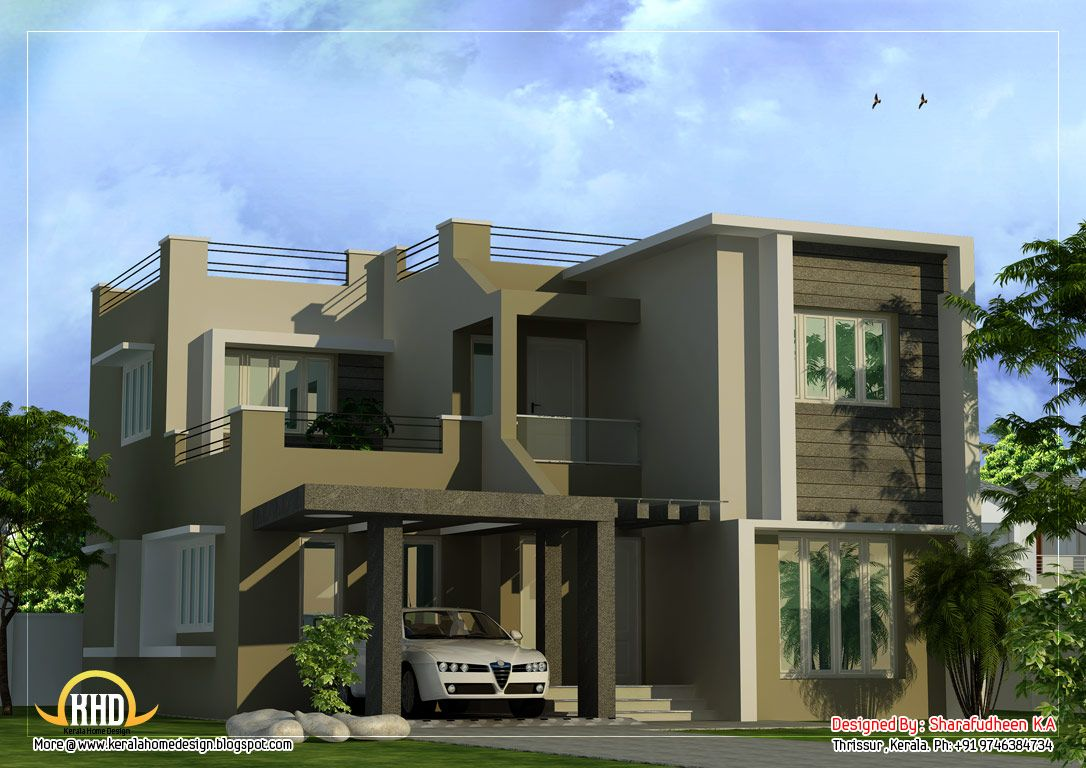 Modern duplex house plans modern duplex home design 1873 sq ft 174 sq ft 208 square - Duplex home elevation design photos ...