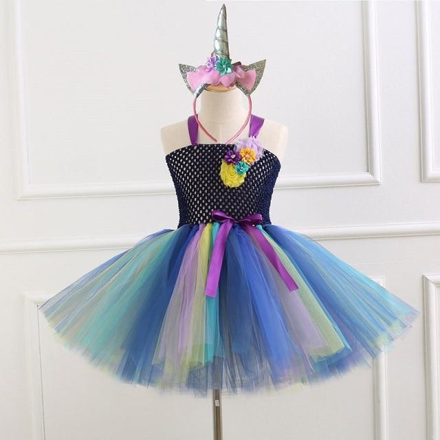 Flower Girls Unicorn Rainbow Tutu Dress Birthday Party Cosplay Costume Outfits