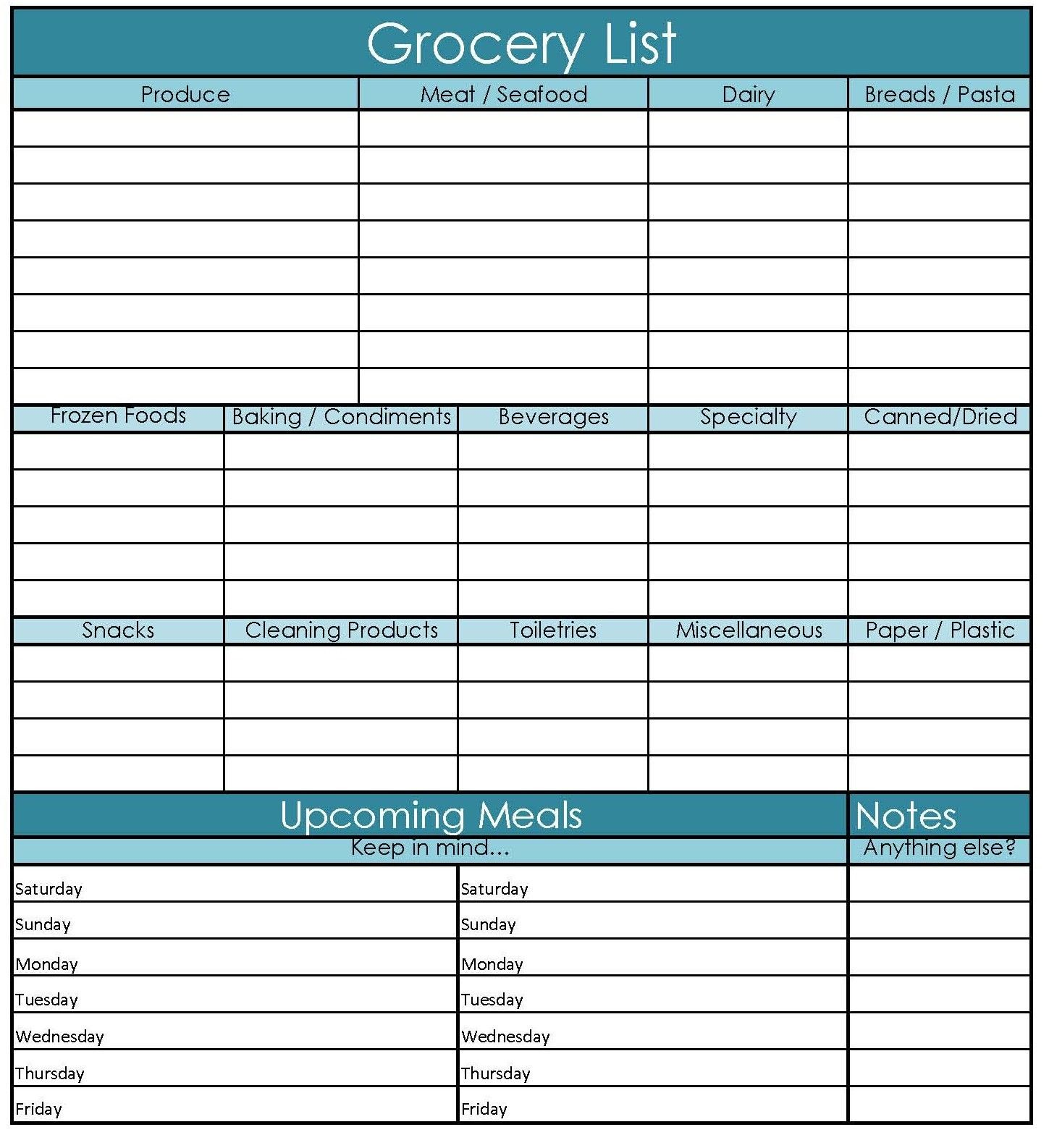Printable Grocery Shopping List And Meal Planner.  Grocery List Template Excel Free Download