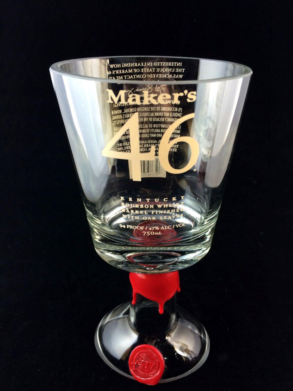 Makers 46 Whiskey bottle Goblet by PMGlassArt on Etsy https://www.etsy.com/listing/223188869/makers-46-whiskey-bottle-goblet