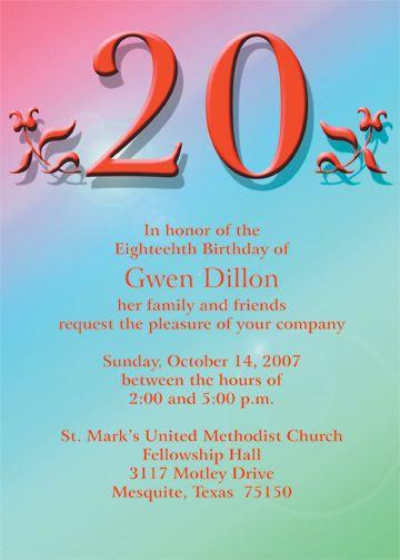 20th Birthday Party Invitations Invites
