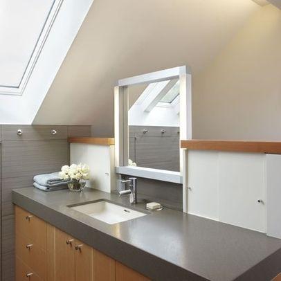modern bathroom small bathroom skylight vaulted ceiling