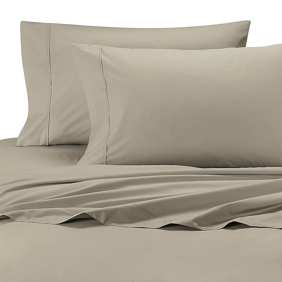 Ultimate Percale Long Staple Cotton Dual Sheet Set Taupe Sheet