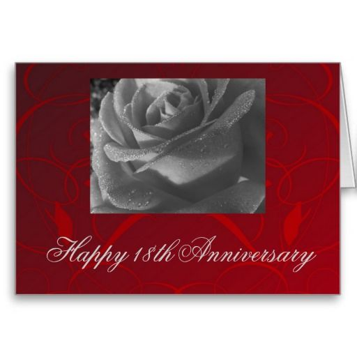 Happy 18th Anniversary Black White Rose On Red Happy 18th Anniversary 18th Anniversary 18th Wedding Anniversary
