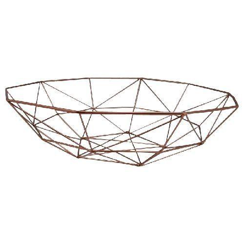 Copper Metal Geo Bowl 40cm Modern Fruit Bowl Geometric