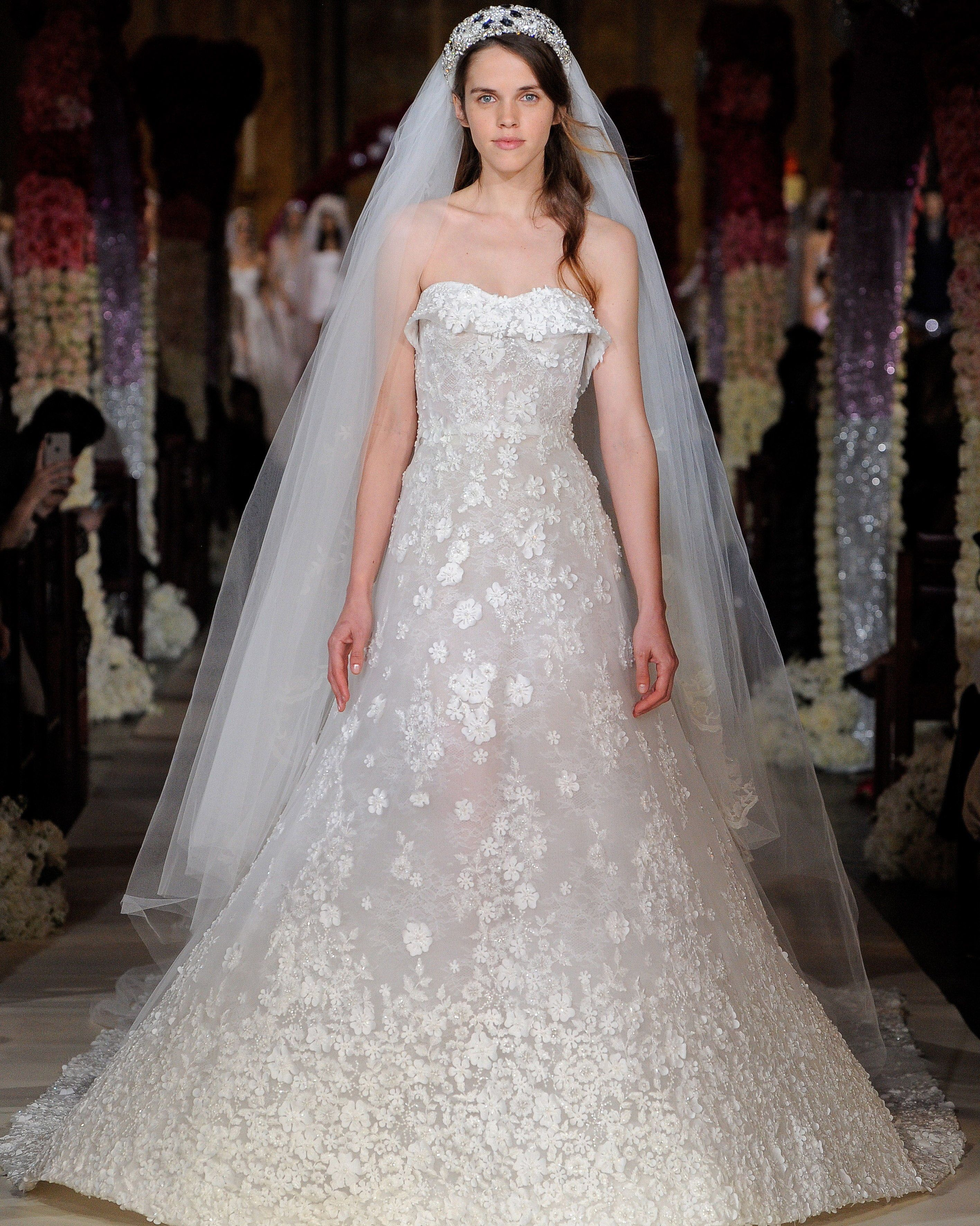 b4b3571dc1f1 Reem Acra Spring 2020: Strapless A-line wedding dress with bib top and  floral