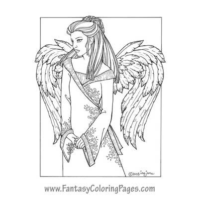 Cambiel By Ina Jane Angel Fantasy Myth Mythical Legend Wings Warrior Valkyrie Anjos Goth Gothic Coloring Pages Colouring Adult Detailed Advanced Printable