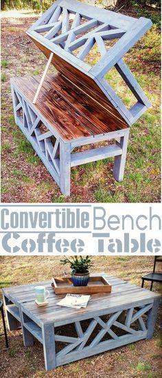 Outdoor Convertible Bench/Coffee Table Bancos, Ideas para el - como hacer bancas de madera para jardin