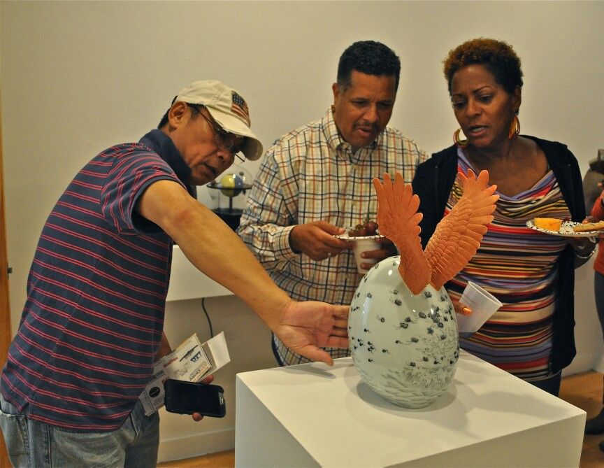 Ge Zhang discusses his work at the Northeast Ceramic Sculpture Exhibition 2014