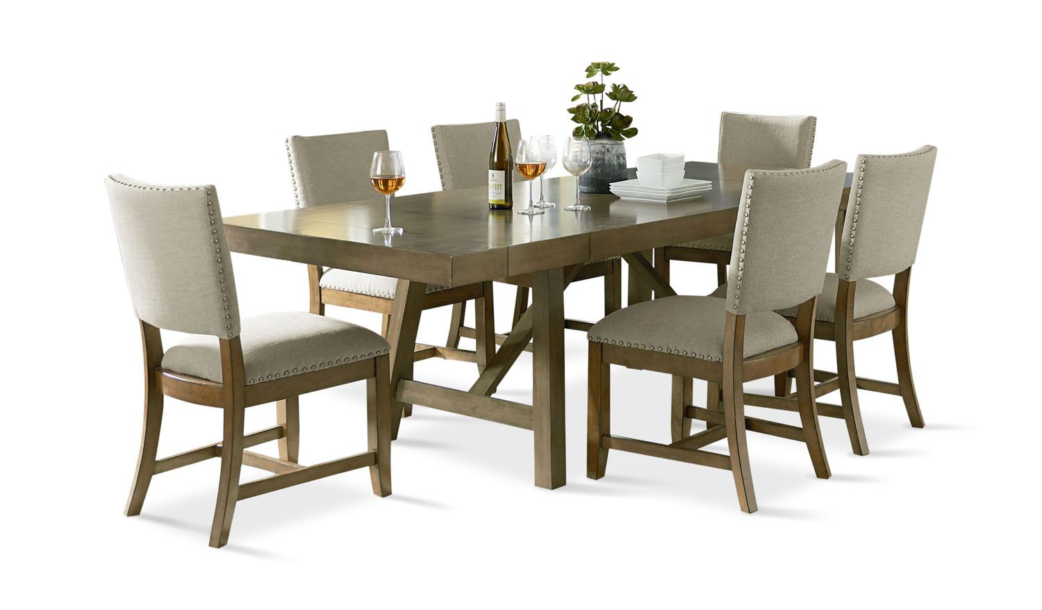 Omaha Dining Table With 9 Upholstered Chairs   HOM Furniture ...