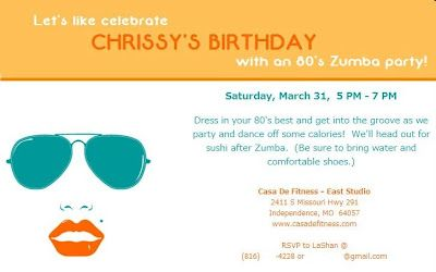 Zumba Party Invitation Myzumbaparty Crazy For Zumba Pinterest