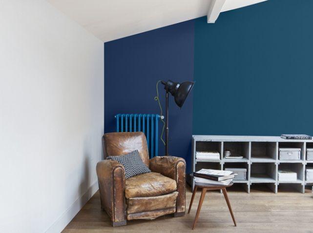 Murs bleus Colorissim de v33 Déco salon Pinterest Salons - peinture chambre gris et bleu
