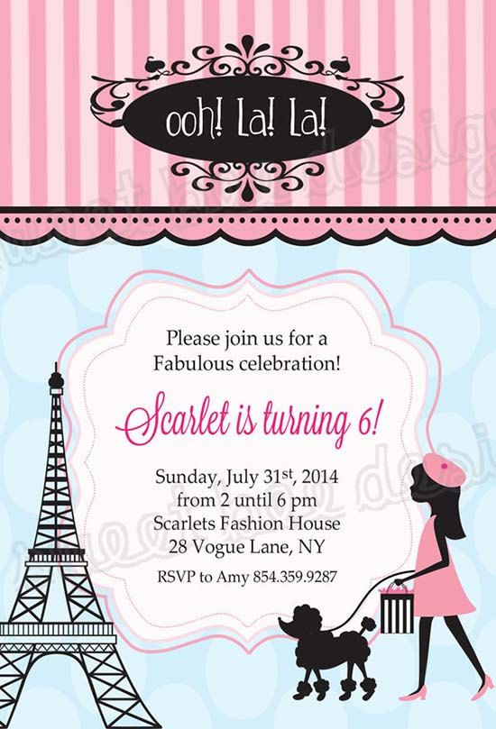 Paris Birthday Invitation French Birthday Party Invitation Paris