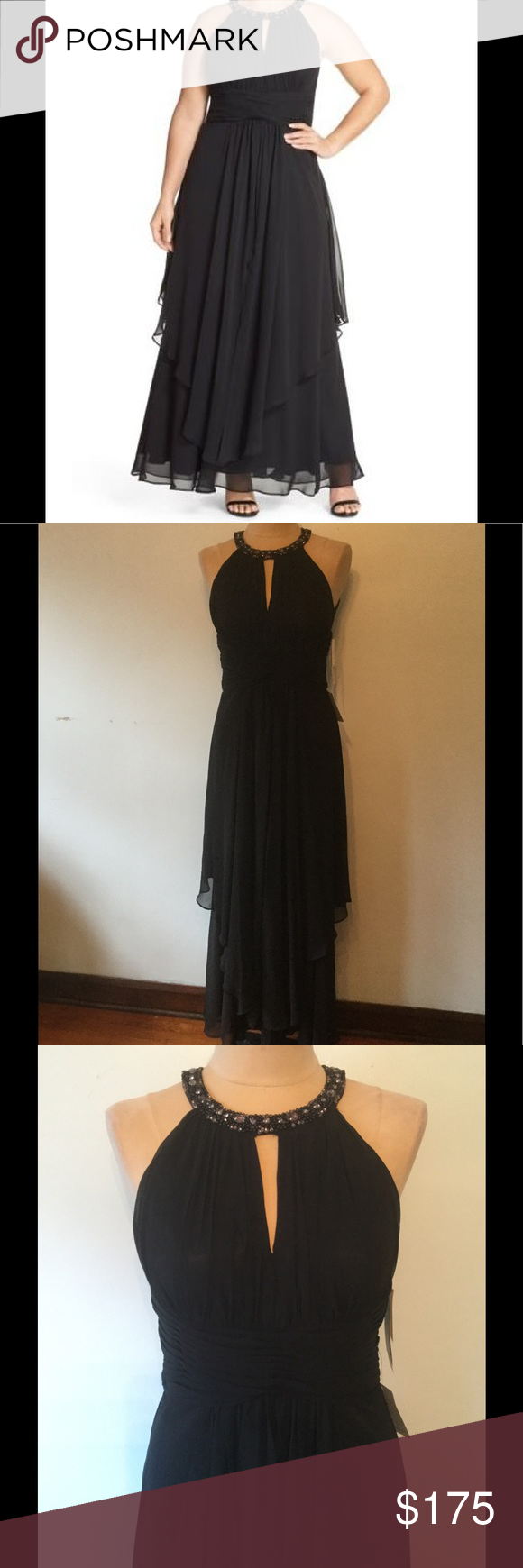 Eliza J 8 Embellished Tiered Chiffon Halter Gown NWT