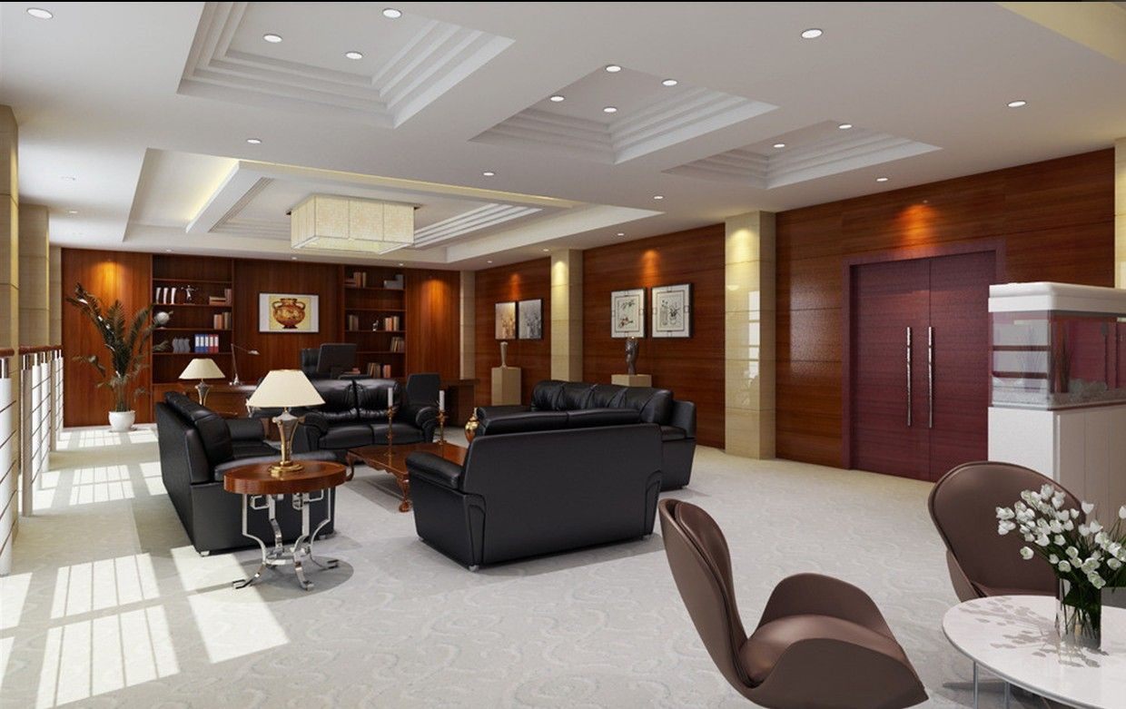 office lobby design ideas. Executive Interior Office Design Ideas: Chairman With Chinese Style Using Black Leather Sofa Aof Living Room Lacquer Table Lobby Ideas